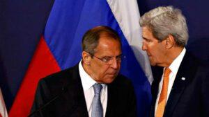 Ministro ruso, Serguei Lavrov, con secretario de Estado de EE.UU., John Kerry.
