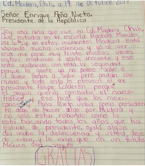 La drástica carta de una niña al Presidente de México