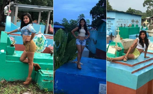 Circula en redes foto de chicas posando en tumbas