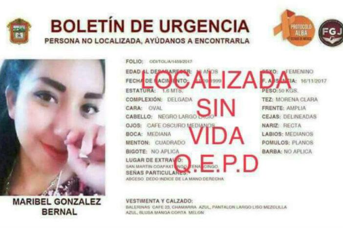 Localizan muerta a Maribel, estudiante desaparecida en el Edomex