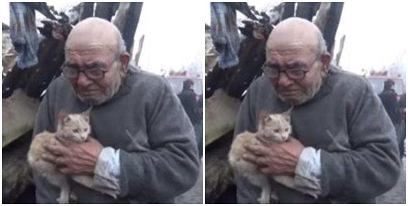 Anciano abraza a su gato tras perder su casa en un incendio