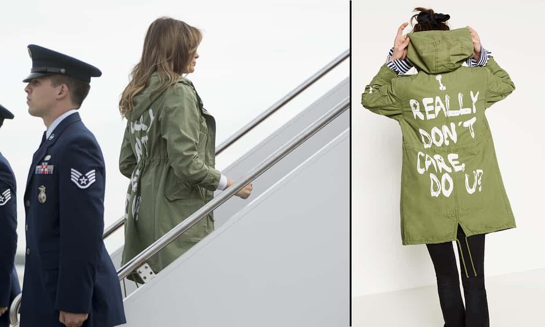 Estalla polémica por el mensaje en la gabardina de Melania Trump