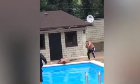 piscina, video, caída