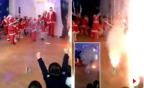 Kazajistán, pirotecnia, guardería, festival navideño,