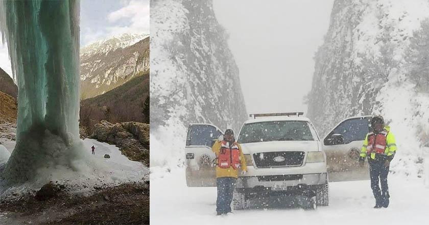 Chihuahua, nevadas, emergencia, cascada