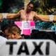 CDMX, uber, cabify, crucificados, taxistas, protesta