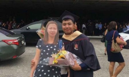 graduado, acto, graduacion, madre