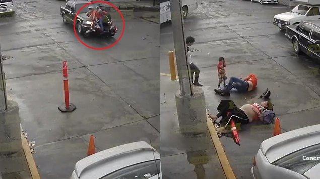 moto, accidente, embarazada