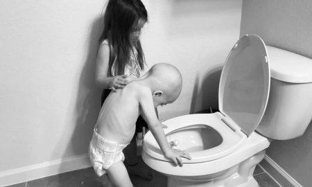niña, hermano, cancer, foto