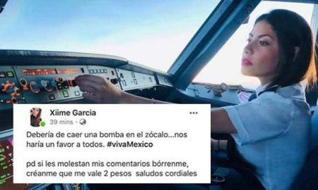 Interjet, bomba, Zócalo, redes sociales, Ximena García