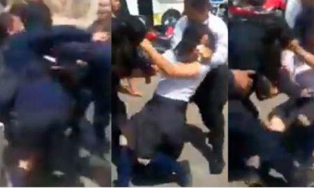 policías, estudiantes, mujeres, pelea, video, viral