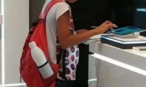 niño, tablet, tienda, tarea