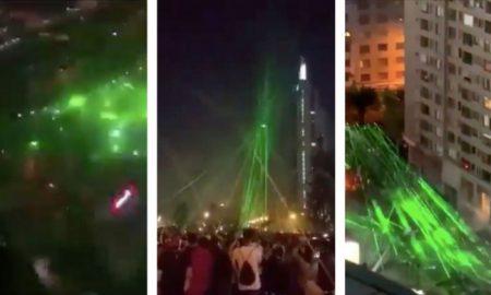 Chile, protestas, manifestantes, dron, video, láser
