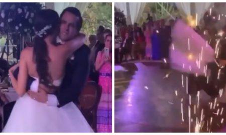 novio azota a novia en baile