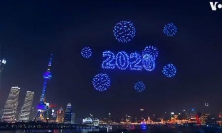China Año Nuevo drones pirotecnia