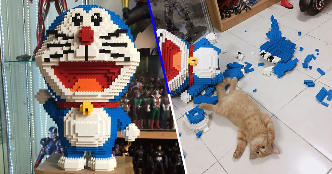 gato viral figura Doraemon