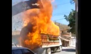 viral, camión, accidente, fuego, incendio, Brasil, internacional, actualidad