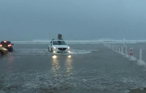 Dennis, playa, Reino Unido, inundación