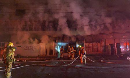 incendio, zona, centro, edificio, abandonado