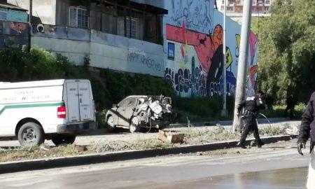 Accidente, muro, auto