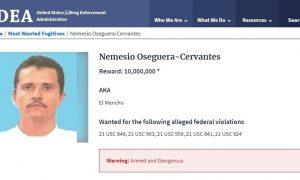DEA, EEUU, México, Nacional, narcotráfico, crimen organizado, CJNG, El mencho