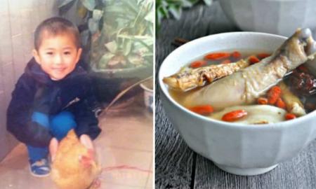 Niño, pollo, historia, China, viral