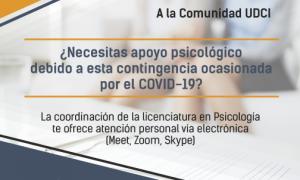 UDCI, Covid-19, Apoyo psicológico,