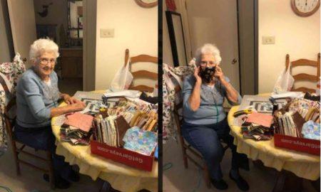 Abuela, teje, cubrebocas, Beatles, cuarentena, aislamiento, Covid-19, coronavirus