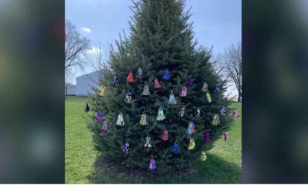 Mujer, árbol, cubrebocas, regala, comunidad, distanciamiento social, cuarentena, Covid-19, coronavirus