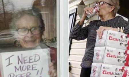 cartel, anciana, adulta mayor, cerveza, actualidad, redes sociales, cuarentena