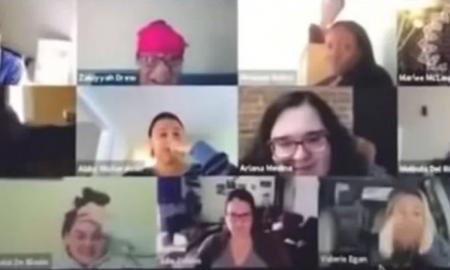 mujer, sanitario, videollamada, junta de trabajo, cámara, viral, video