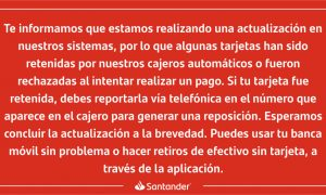 Santander, reporte, mensaje, tarjeta, economía, nacional, retención de tarjeta, banco