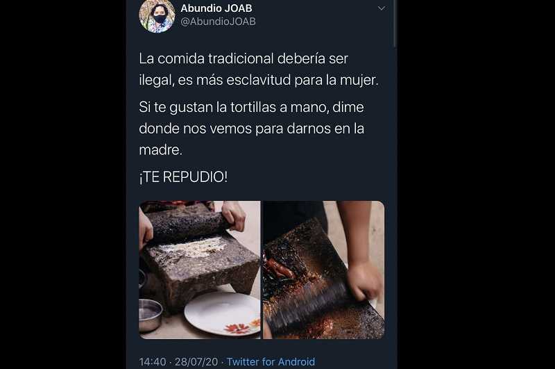 Abundio, tweet, comida tradiciona, esclavitud, polémica, Twitter