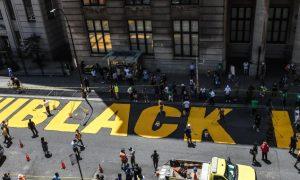 Nueva York, Black Lives Matter, mural, alcalde, Torre, Donald Trump, Bill de Blasio
