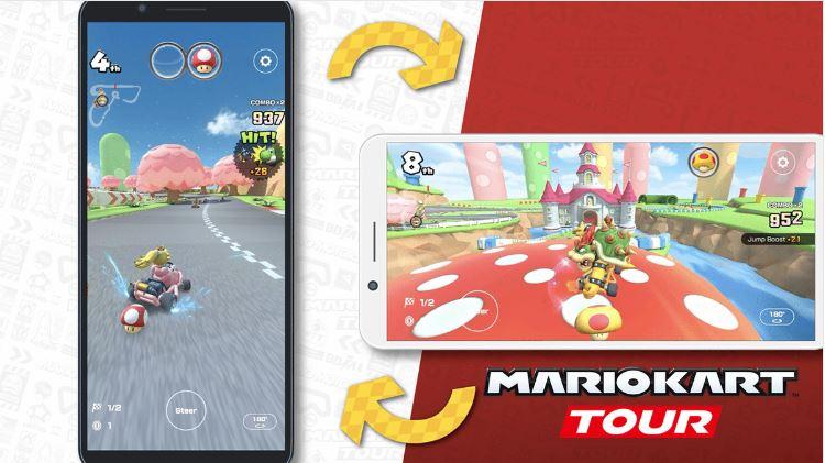 Mario Kart Tour, celular, aplicación, juego, videojuego, pantalla, horizontal, Nintendo