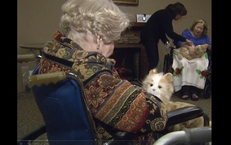 Animales robóticos, mascotas, personas mayores, ancianos, abuelos, demencia, asilo