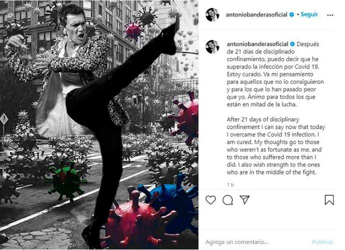 Antonio Banderas, supera, alivia, covid-19, coronavirus, anuncio, foto, Instagram