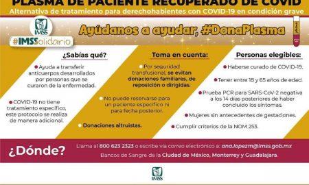 IMSS, donación de plasma, pacientes covid-19, pacientes recuperados,