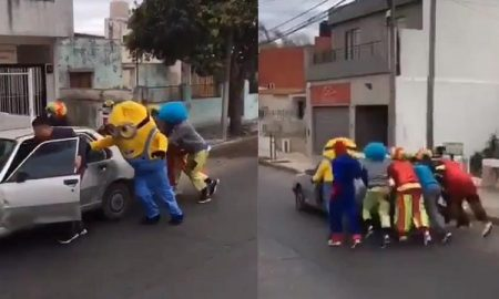 Payasos, Minion, Spider-Man, empujan, carro, varado, video viral