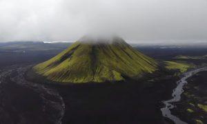 Volcán, vegetación, plantas, video, aéreo