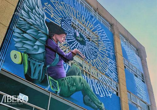 ibero, tijuana, foto mural, migrante