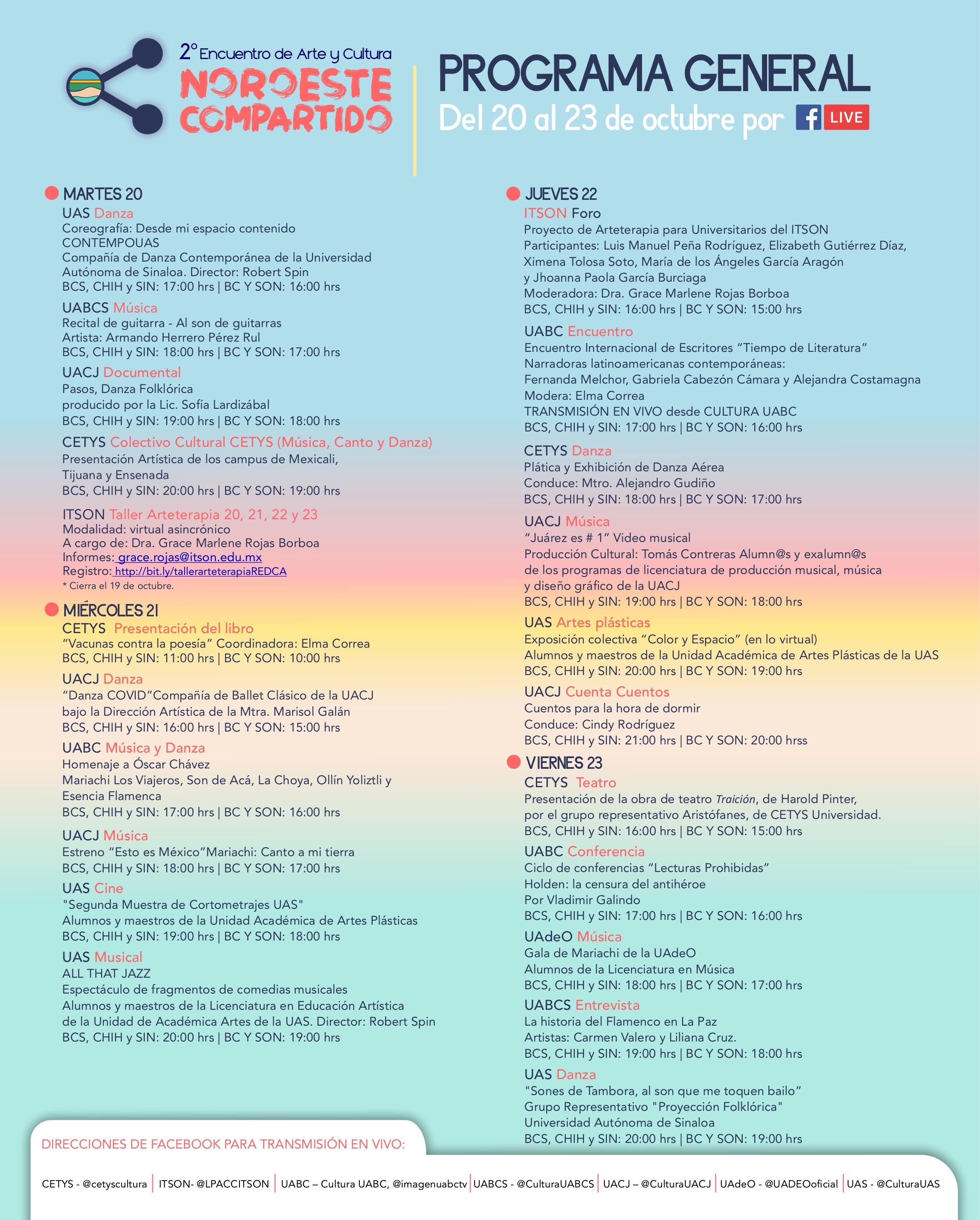 UABC, AUS, CETYS, Noroeste compartido, promoción de arte y cultura