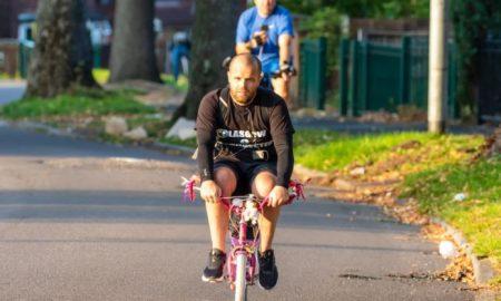 Padre, bicicleta, rosa, altruismo, recorrido