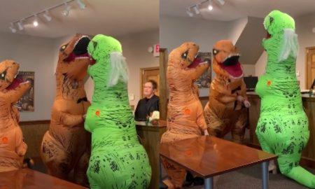Pareja, casamiento, matrimonio, video viral, dinosaurio, disfraz