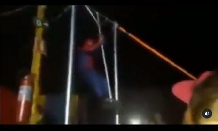 Spider-Man, circo, vuelta, vuela, caída, video viral