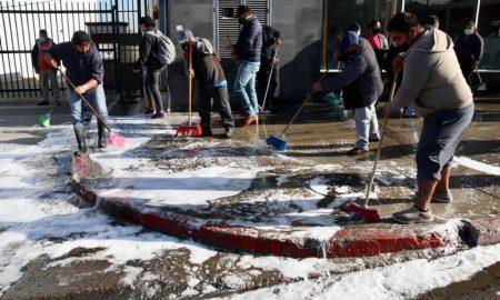 trabajos de limpieza, espacios públicos, Delegación La Mesa,
