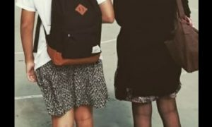 alumno, España, falda, género, manifestación, estudiantes