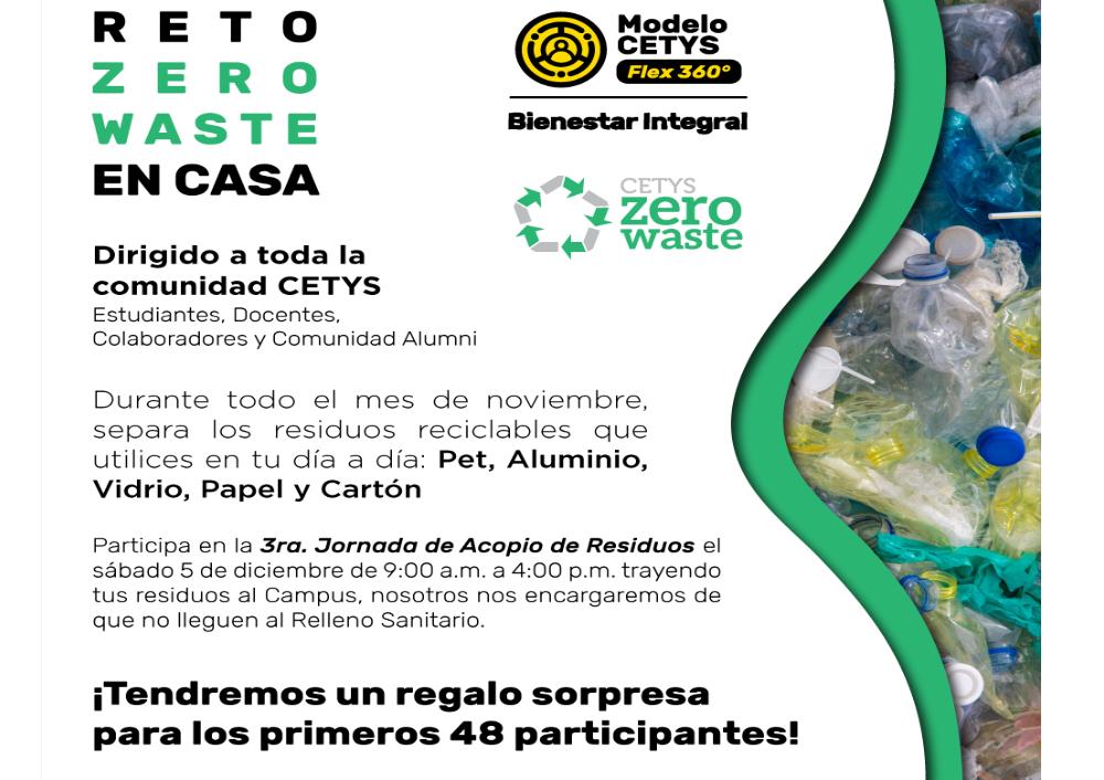 Cetys, reto Zero Waste, campaña de reciclaje, reciclaje, estudiantes universitarios,