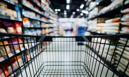 Tienda, supermercado, mandando, compras, carrito