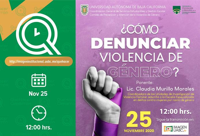 UABC, violencia de género, conferencia virtual